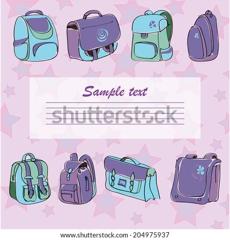 vector illustration, school backpack, back to school - stock vector