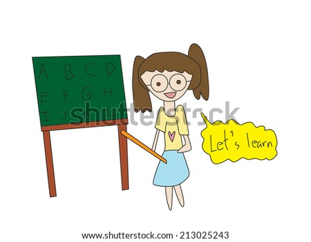 Vector illustration school teacher or lecturer writing on a blackboard - stock vector