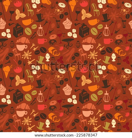 Vector illustration Seamless coffee pattern with latte, cappuccino, pies, donuts,  croissants, cups, glasses and other cafe objects - stock vector