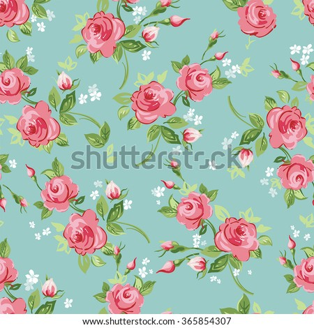Vector illustration seamless floral pattern with roses - stock vector