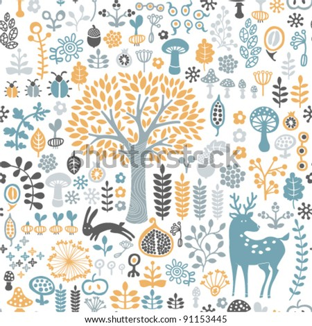 vector illustration. seamless forest pattern - stock vector