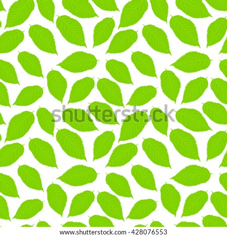 Vector illustration: Seamless pattern with cherry leaves on white background. - stock vector