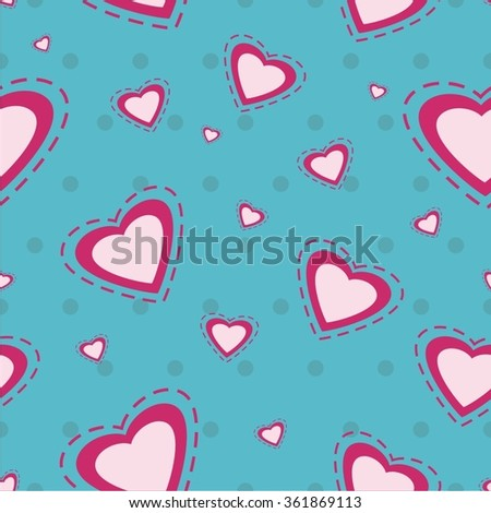 Vector illustration seamless pattern with hearts - stock vector