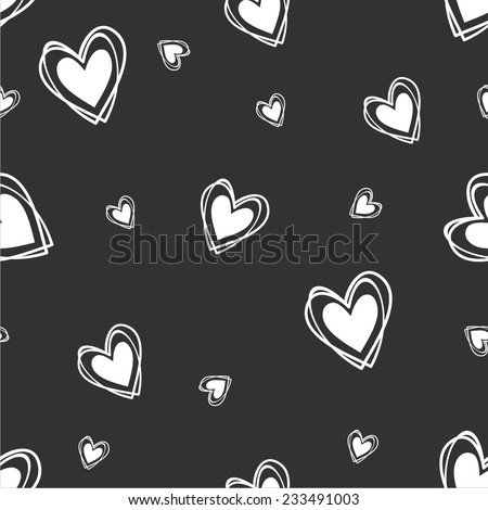 Vector illustration seamless pattern with hearts black-white - stock vector