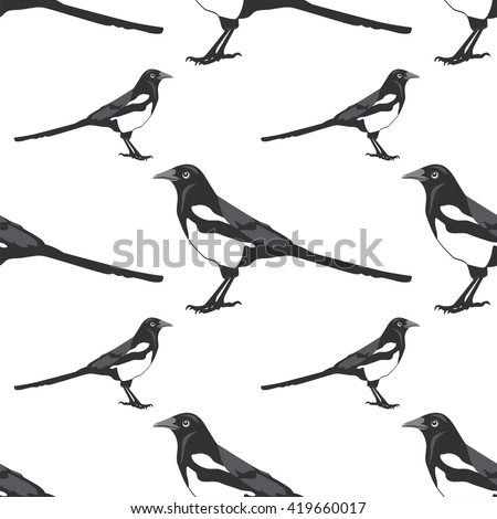 Vector illustration seamless pattern with magpie - stock vector