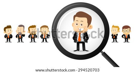 Vector illustration - Searching right man - stock vector