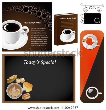 Vector illustration set: Coffee & tea graphic design elements for cards & background (Part 6) - stock vector