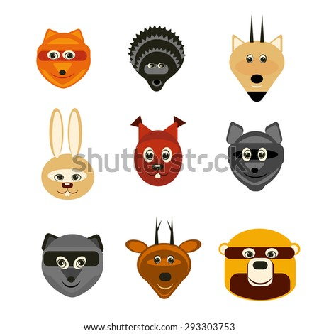 vector illustration set forest animals flat silhouettes in color for design, web, infographic - stock vector