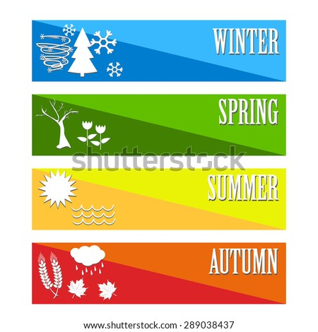 vector illustration Set four seasons symbol Weather for print calendar, web design - stock vector