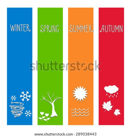 vector illustration Set four seasons symbol Weather for print calendar, web design - stock vector