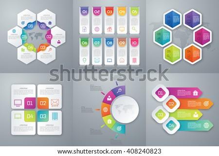 Vector illustration set infographics. Template for brochure, business, web design - stock vector