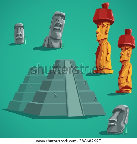 Vector illustration set isolated elements of stones, statues, pyramids.  For mobile game user interface, newsletters, brochures, ads, business cards, greeting cards, catalogs, reports, flyers. - stock vector