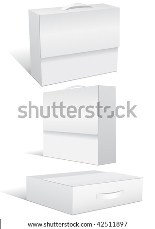 Vector illustration set of a blank case or box in different 3D views. All objects are isolated. Box colors and white background color are easy to adjust/customize. - stock vector