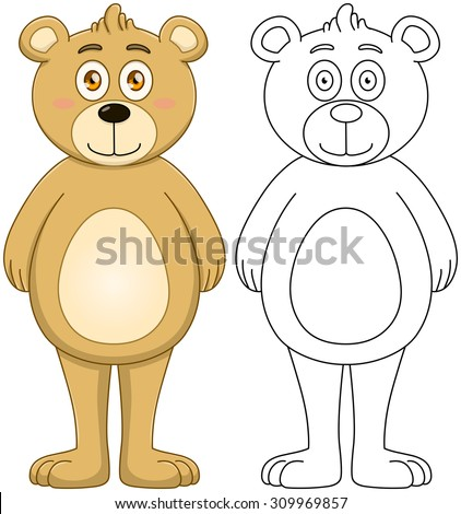 Vector illustration set of a cute brown teddy bear with outline. - stock vector