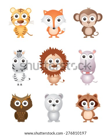 Vector illustration set of animal isolated on white - stock vector