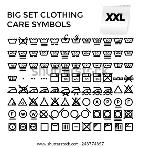 Vector illustration set of apparel care instruction symbols - stock vector