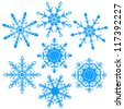 Vector illustration set of beautiful various snowflakes - stock vector