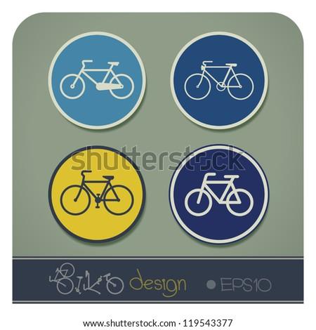 Vector illustration set of bike symbols of vintage bicycle - stock vector