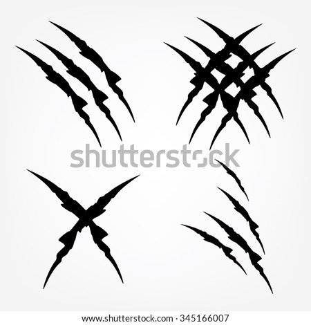 Vector illustration set of black claw scratches isolated. Animal claw scratches - stock vector