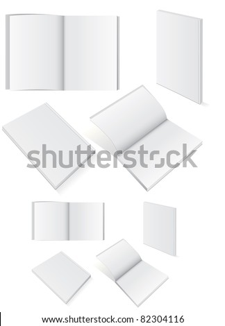 Vector illustration set of blank square of rectangle books with softcover. All vector objects are isolated and grouped. Colors and transparent background color are easy to customize. - stock vector
