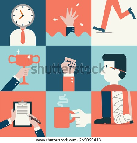 Vector illustration set of business concept, presenting to time management, failure, victory, fighting, relaxation, working, thinking, and get injury. Flat design and simple style.   - stock vector