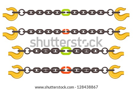 Vector illustration set of chains - weak or strong link concept - stock vector
