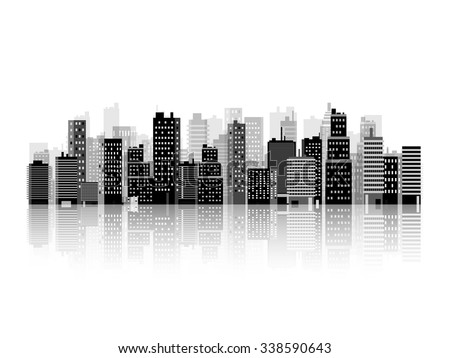 Vector illustration. Set of city silhouettes. Cityscape. Town skyline. Panorama. Midtown houses. Skyscrapers. - stock vector