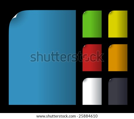Vector illustration. Set of color blank paper - stock vector