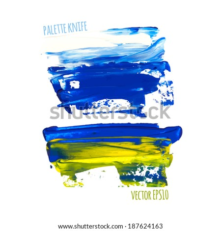 Vector illustration. Set of colorful spot, painted with a palette knife, isolated on  white background. white-blue-yellow - stock vector