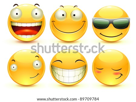 Vector illustration set of cool glossy Single Emoticons - stock vector