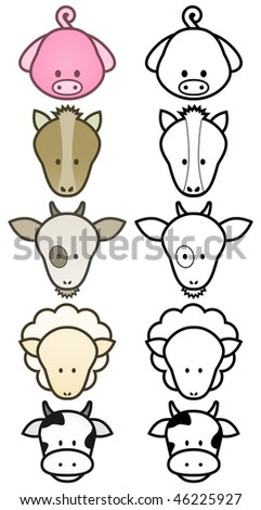 Vector illustration set of different cartoon farm animals. All vector objects and details are isolated and grouped. Colors and transparent background color are easy to adjust. - stock vector