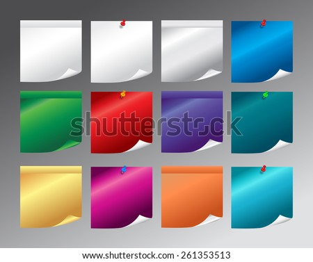 Vector illustration. Set of different  colourful  paper sticky note with push pins  isolated on grey background - stock vector