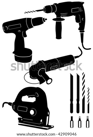 Vector illustration set of different electric power tools. All vector objects and details are isolated and grouped. Each tool has a transparent background. Colors are easy to adjust or customize. - stock vector