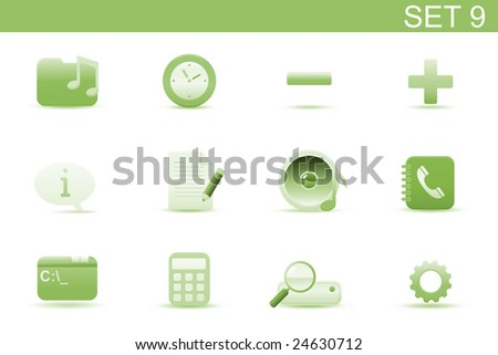 Vector illustration ? set of elegant simple icons for common computer and media devices functions. Set-9 - stock vector