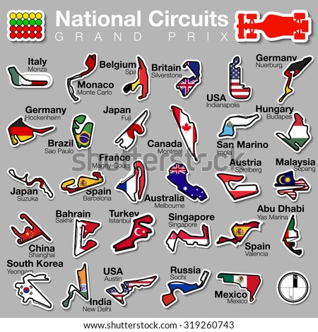 vector illustration Set of 29 f1 National Circuits logo. GRAND PRIX formula1  with country flag, icon bolide logotype, modern flat sticker design style with shadow racetracks motordrome sport - stock vector