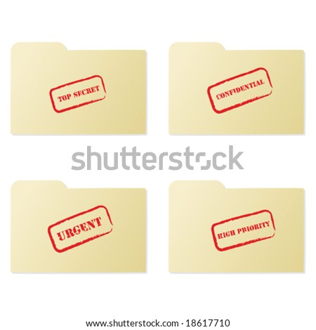 Vector illustration set of folders with different messages: top secret, confidential, urgent and high priority - stock vector