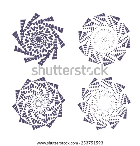 Vector illustration: set of four inky ethnic solar round ornaments - stock vector