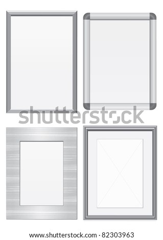 Vector illustration set of frames with metal texture. All vector objects are isolated and grouped. Colors and transparent background color are easy to customize. - stock vector