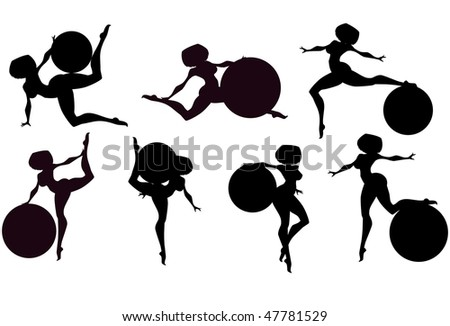 Vector illustration:set of  girls with gymnastic balls silhouettes. - stock vector