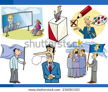 Vector Illustration Set of Humorous Cartoon Concepts or and Metaphors of Politics and Democracy - stock vector