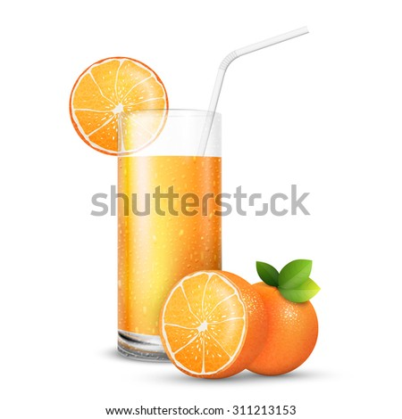Vector illustration set of  juice glass and fresh bright oranges - stock vector