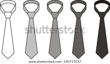 Vector illustration. Set of men's tie. Different colors: white, grey, black - stock vector