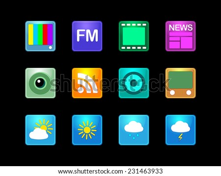 Vector illustration. Set of  multicolored computer icon made on various topics for web applications, web presentation and more. - stock vector