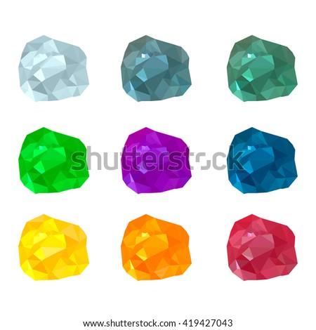 vector illustration. set of multicolored gemstones, crystals of diamond, amethyst, ruby, emerald, Topaz, citrine. Stones - stock vector