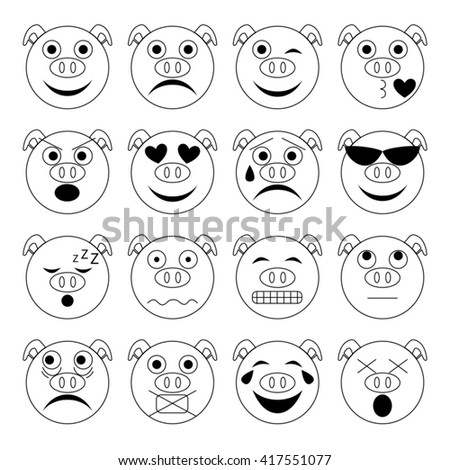 vector illustration set of pig emoticons in black and white - stock vector