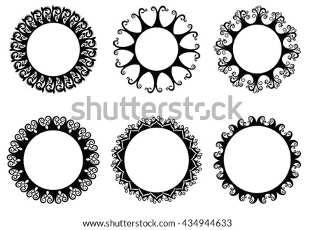 Vector illustration set of 6 round banner with floral ornaments - stock vector