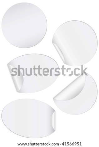 Vector illustration set of round unprinted stickers with peeled edges. All objects and details are isolated. Colors and white background color are easy to adjust/customize. - stock vector