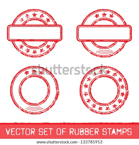 Vector illustration set of rubber stamps. - stock vector
