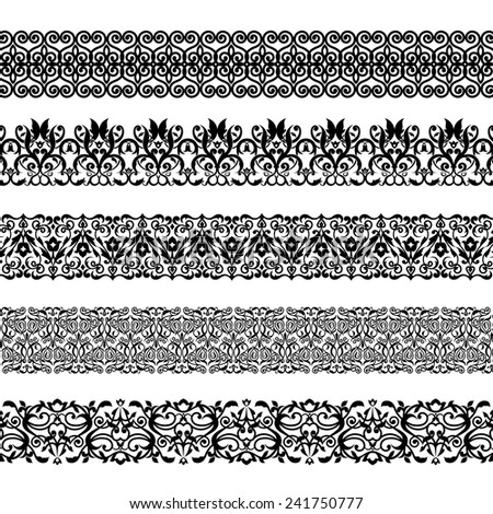 Vector illustration set of seamless textures. All elements are grouped separately. - stock vector