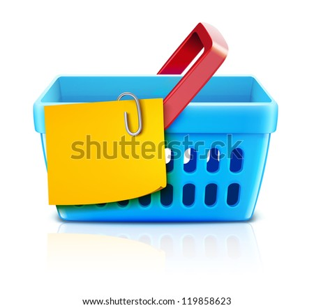 Vector illustration set of shopping concept with supermarket basket and yellow paper note list. - stock vector